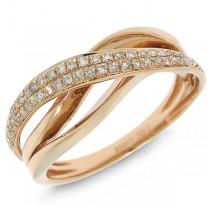 0.22ct 14k Rose Gold Diamond Bridge Ring