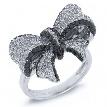 1.55ct 14k White Gold Black & White Diamond Ribbon Bow Ring Size 7.5