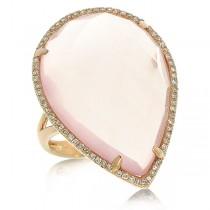 0.22ct Diamond & 17.68ct Rose Quartz 14k Rose Gold Ring