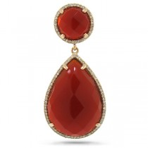 0.35ct Diamond & 23.46ct Red Agate 14k Rose Gold Pendant Necklace