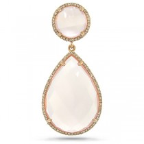 0.35ct Diamond & 23.20ct Rose Quartz 14k Rose Gold Pendant Necklace