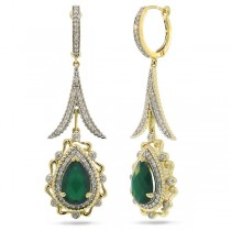 0.87ct Diamond & 4.12ct Green Agate 14k Two-tone Gold Earrings