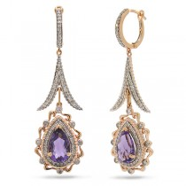 0.87ct Diamond & 3.75ct Amethyst 14k Two-tone Rose Gold Earrings