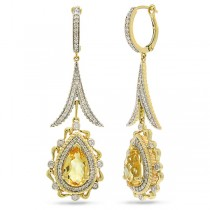 0.87ct Diamond & 3.77ct Citrine 14k Two-tone Gold Earrings