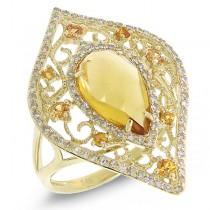 0.36ct Diamond & 2.15ct Citrine & 0.25ct Yellow Sapphire 14k Yellow Gold Ring