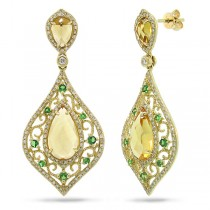 0.96ct Diamond & 5.62ct Citrine & 0.41ct Green Garnet 14k Yellow Gold Earrings