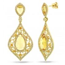 0.96ct Diamond & 5.62ct Citrine & 0.46ct Yellow Sapphire 14k Yellow Gold Earrings