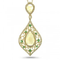 0.54ct Diamond & 3.91ct Citrine & 0.26ct Green Garnet 14k Yellow Gold Pendant Necklace