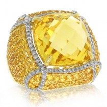 0.57ct Diamond & 12.48ct Citrine & 3.87ct Yellow Sapphire 14k Yellow Gold Ring