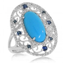 0.37ct Diamond & 2.96ct Composite Turquoise & 0.25ct Blue Sapphire 14k White Gold Ring