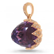 0.31ct Diamond & 6.90ct Amethyst 14k Rose Gold Pendant Necklaces
