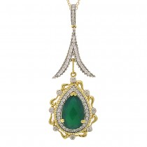0.46ct Diamond & 3.04ct Green Agate 14k Two-tone Gold Pendant Necklace