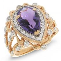 0.35ct Diamond & 3.04ct Amethyst 14k Two-tone Rose Gold Ring