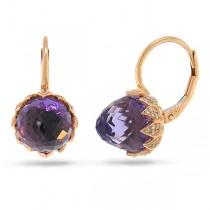 0.34ct Diamond & 10.20ct Amethyst 14k Rose Gold Earrings