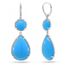 0.68ct Diamond & 28.16ct Composite Turquoise 14k White Gold Earrings