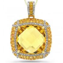 0.42ct Diamond & 13.99ct Citrine & 1.69ct Yellow Sapphire 14k Yellow Gold Pendant Necklace