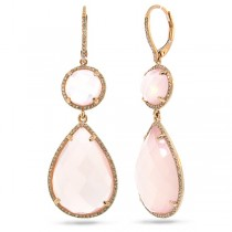 0.68ct Diamond & 32.47ct Rose Quartz 14k Rose Gold Earrings