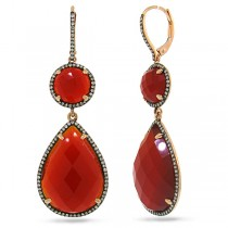 0.68ct Diamond & 32.08ct Red Agate 14k Rose Gold With Black Rhodium Earrings