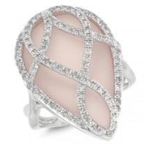 0.60ct Diamond & 11.85ct Rose Quartz 14k White Gold Ring