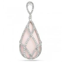 0.98ct Diamond & 20.34ct Rose Quartz 14k White Gold Pendant Necklace