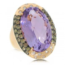 1.22ct White & Champagne Diamond & 14.53ct Amethyst 14k Rose Gold Ring