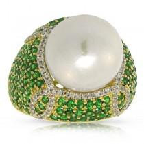 0.41ct Diamond & 3.84ct Green Garnet 18k Yellow Gold Pearl Ring