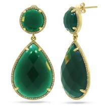 0.65ct Diamond & 38.35ct Green Agate 14k Yellow Gold Earrings