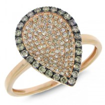0.50ct 14k Rose Gold White & Champagne Diamond Ring