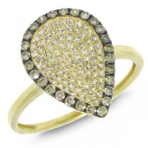 0.50ct 14k Yellow Gold White & Champagne Diamond Ring