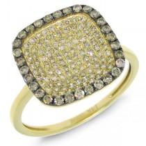0.60ct 14k Yellow Gold White & Champagne Diamond Ring
