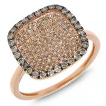 0.60ct 14k Rose Gold White & Champagne Diamond Ring