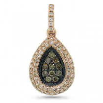0.33ct 14k Rose Gold White & Champagne Diamond Pendant Necklace