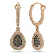 0.61ct 14k Rose Gold White & Champagne Diamond Earrings