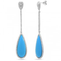 1.01ct Diamond & 10.32ct Composite Turquoise 14k White Gold Earrings