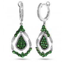 0.37ct Diamond & 1.63ct Green Garnet 14k White Gold Earrings
