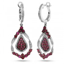 0.37ct Diamond & 1.89ct Ruby 14k White Gold Earrings