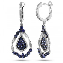 0.37ct Diamond & 1.87ct Blue Sapphire 14k White Gold Earrings