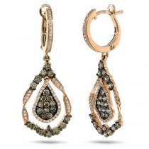 1.64ct 14k Rose Gold White & Champagne Diamond Earrings
