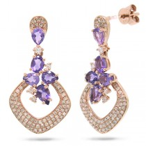 0.53ct Diamond & 1.58ct Amethyst 14k Rose Gold Earrings