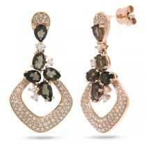 0.53ct Diamond & 1.50ct Smokey Topaz 14k Rose Gold Earrings