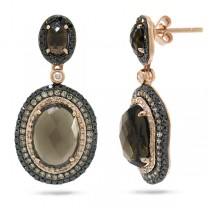 1.09ct White, Champagne & Black Diamond & 6.47ct Smokey Topaz 14k Rose Gold Earrings