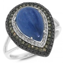 0.58ct White, Champagne & Black Diamond & 4.07ct Kyanite 14k White Gold Ring