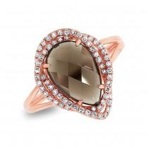 0.26ct Diamond & 2.97ct Smokey Topaz 14k Rose Gold Ring Size 5.75