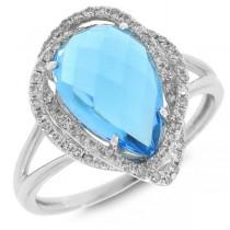 0.26ct Diamond & 3.64ct Blue Topaz 14k White Gold Ring