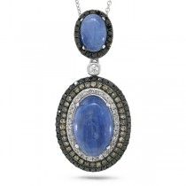 0.70ct White, Champagne & Black Diamond & 6.08ct Kyanite 14k White Gold Pendant Necklace
