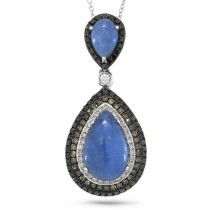 0.70ct White, Champagne & Black Diamond & 5.74ct Kyanite 14k White Gold Pendant Necklace