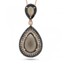 0.70ct White, Champagne & Black Diamond & 3.42ct Smokey Topaz 14k Rose Gold Pendant Necklace