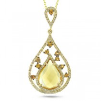 0.34ct Diamond & 2.62ct Citrine & Yellow Sapphire 14k Yellow Gold Pendant Necklace