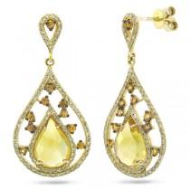 0.60ct Diamond & 3.57ct Citrine & Yellow Sapphire 14k Yellow Gold Earrings