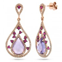 0.60ct Diamond & 3.54ct Amethyst & Pink Sapphire 14k Rose Gold Earrings